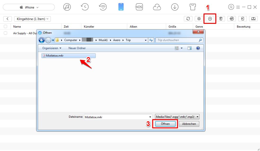 M4R auf iPhone X/8/7/6 übertragen ohne iTunes – Schritt 3