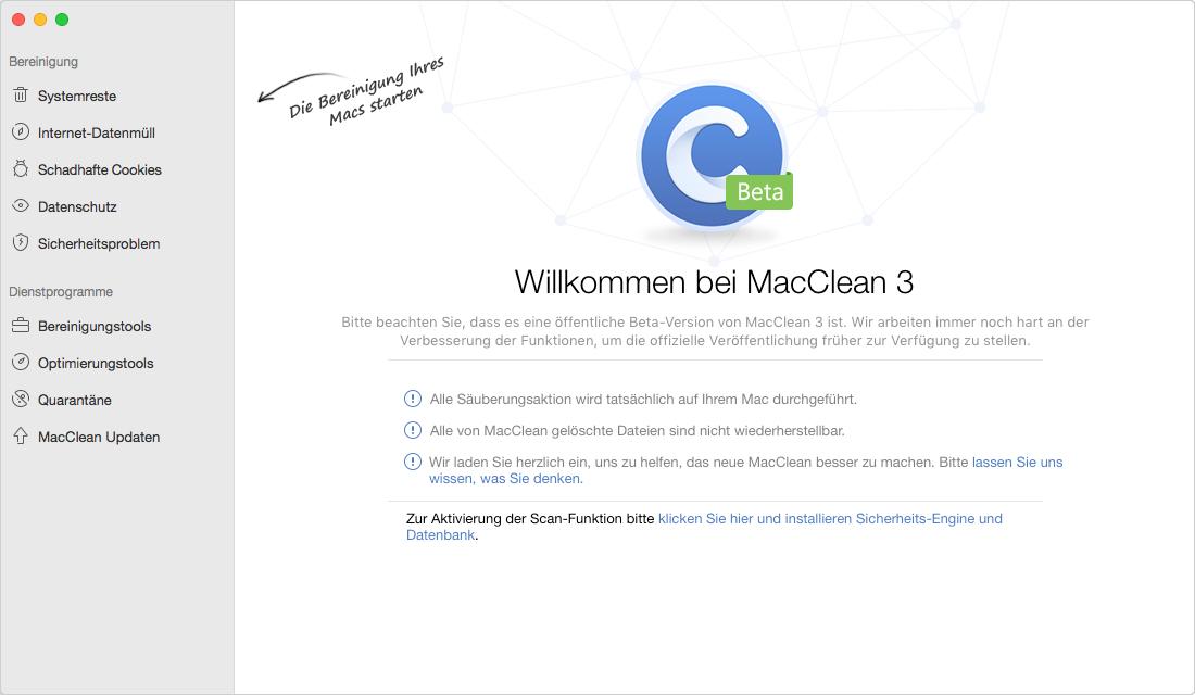 Mac Programme deinstallieren: MacClean öffnen – Schritt 1