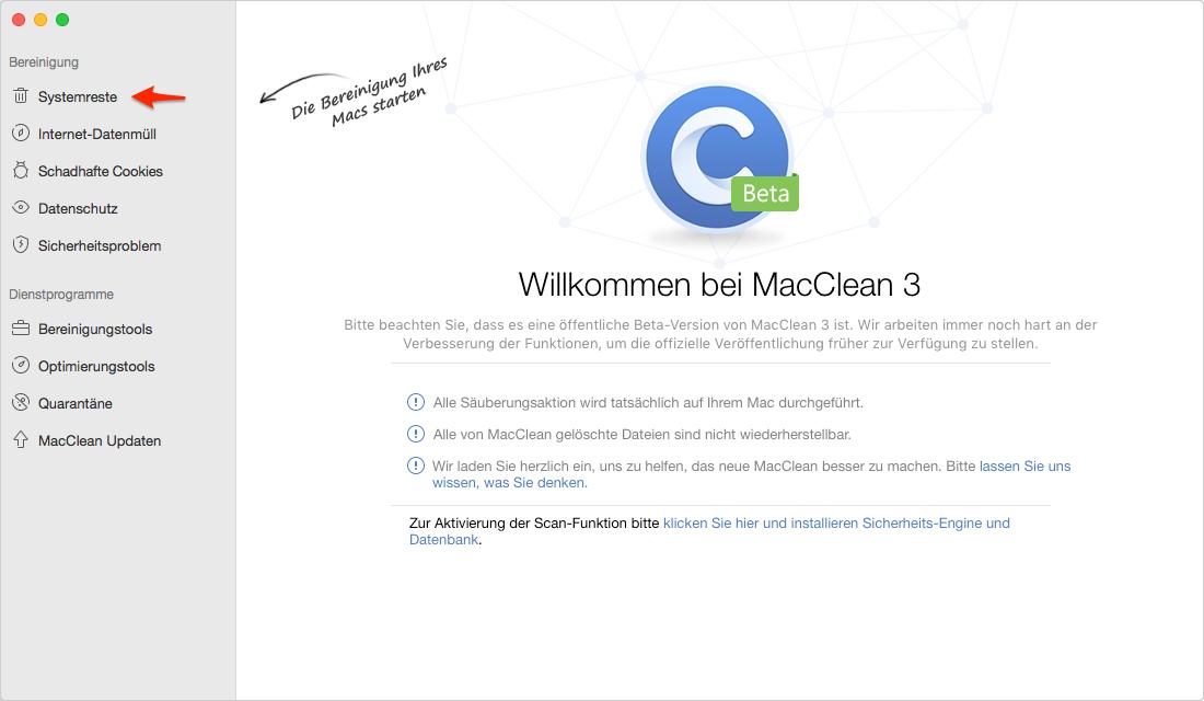 Mac bereinigen: Systemreste auswählen – Schritt 2