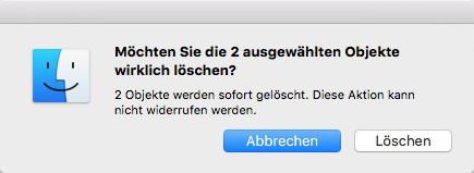 Dateien vom Mac direkt löschen
