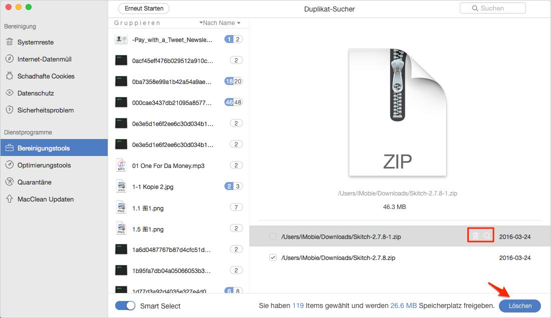 Wie kann man doppelte Dateien vom Mac finden - Schritt 3