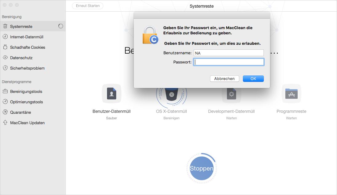 Passwort eingeben, um Mac Festplatte zu bereinigen – Schritt 7