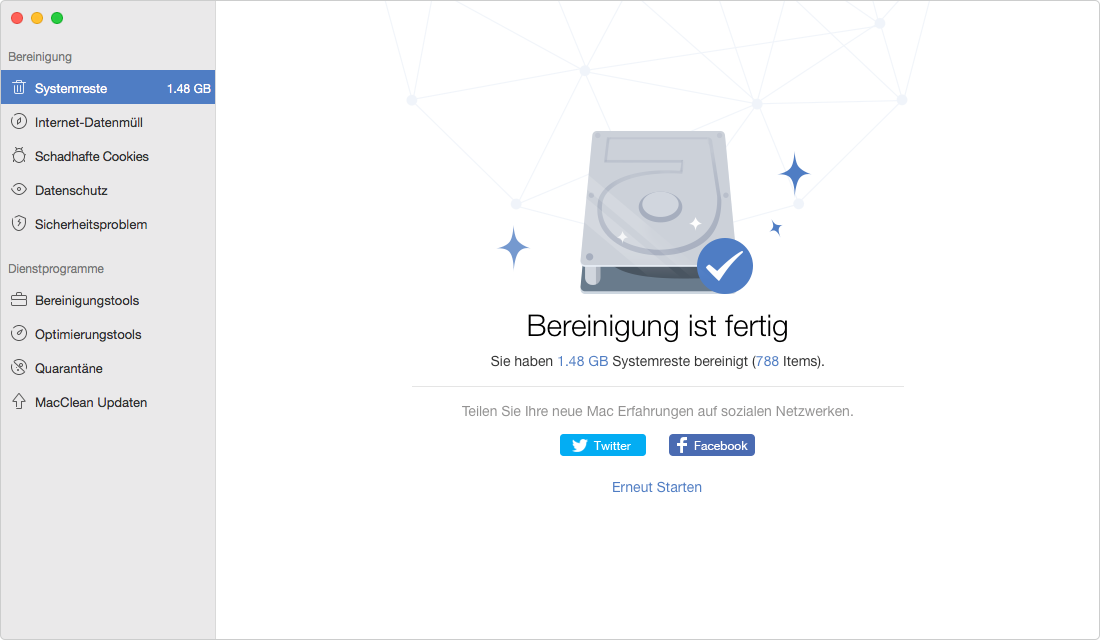 Mac Festplatte aufräumen - Erlebnis der Bereinigung