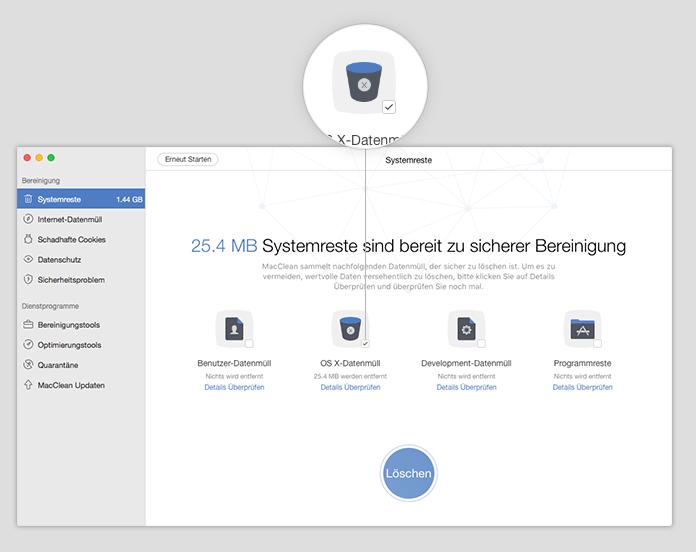 OS X-Datenmüll auf dem Mac markieren – Schritt 5