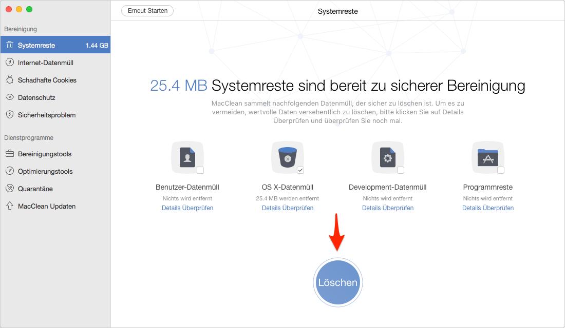 OS X alle Daten zur Beschleunigung vom Mac löschen – Schritt 6