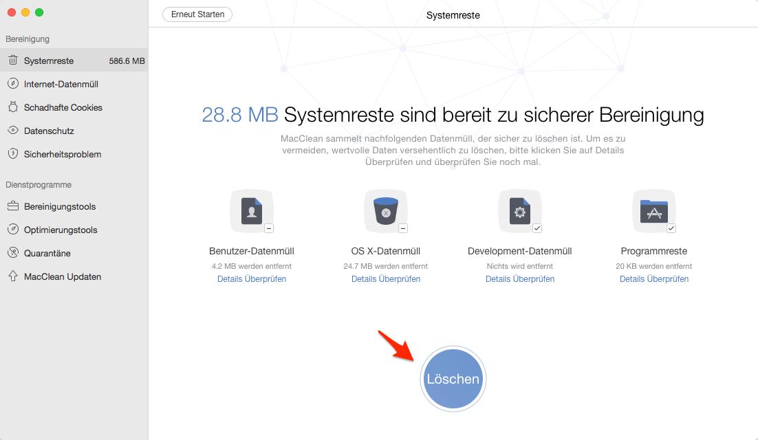 """1 Klick! Mac """"Sonstige Dateien"""" löschen – Schritt 3"""