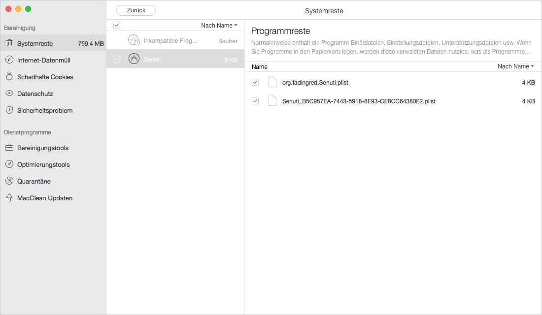 Programmreste überprüfen – Schritt 4