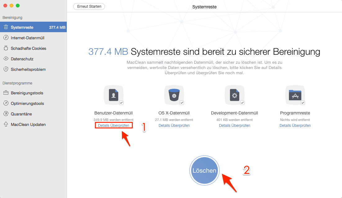 Temporäre Dateien vom Mac löschen – Schritt 3