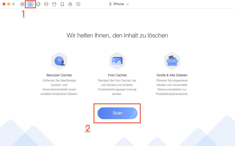 PhoneClean Starten und Reinigungslösung auswählen – Schritt 1