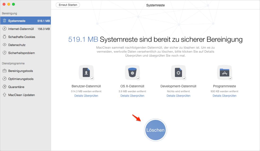 Wie kann man Mac komplett aufräumen - Schritt 2