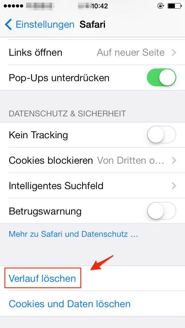 Internetverlauf vom iPhone direkt löschen