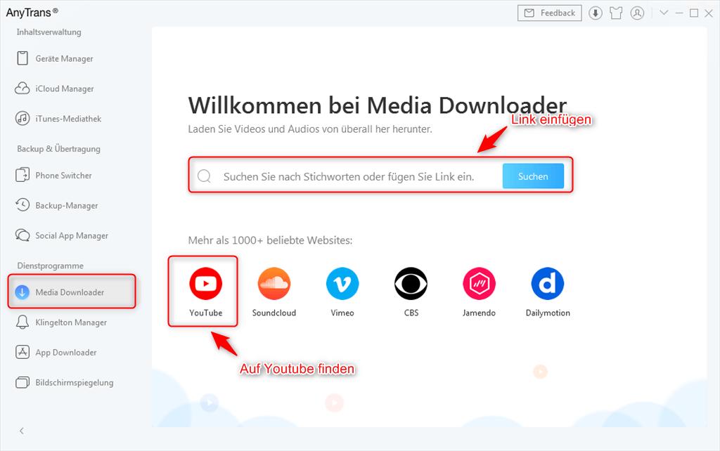 media-downloader-youtube-suchen