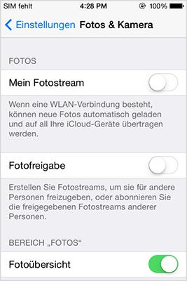Foto Stream ausschalten