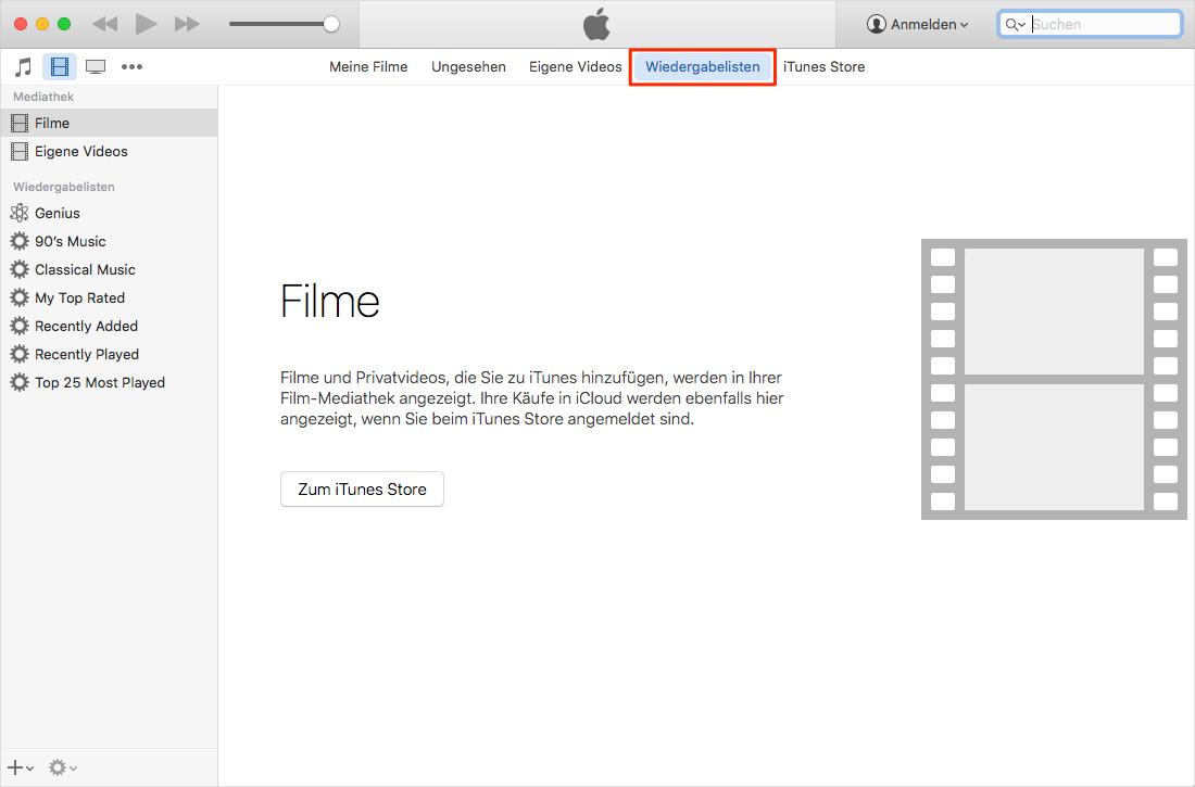 iTunes Probleme - Seitenleiste in iTunes 12.7 wiederbringen