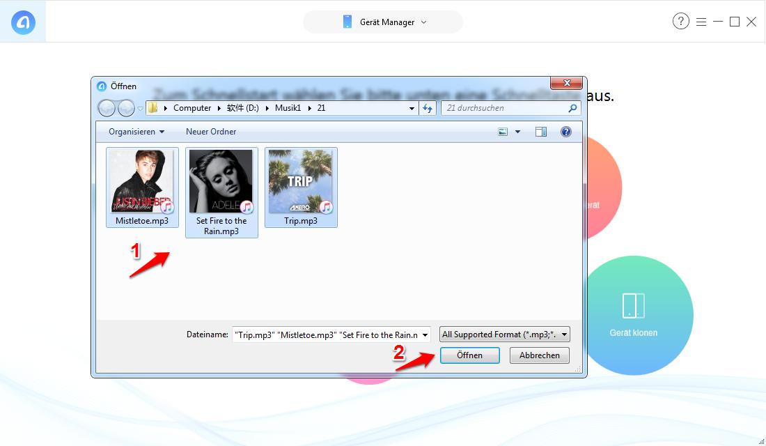 MP3 auf iPhone übertragen ohne iTunes – Schritt 2