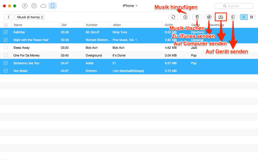 Musik vom iPhone auf Computer selektiv versenden – Schritt 3