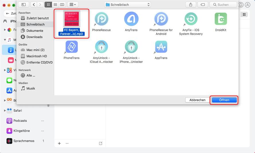Musik am Mac auswählen