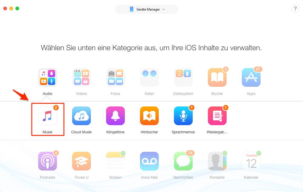 Musik vom Mac auf iPhone 7/8/X übertragen – Schritt 3
