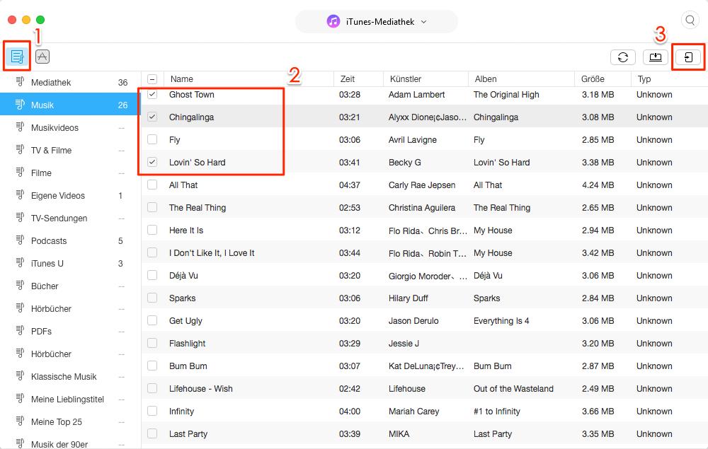 Musik von iTunes auf iPhone 7/8/X selektiv übertragen – Schritt 3