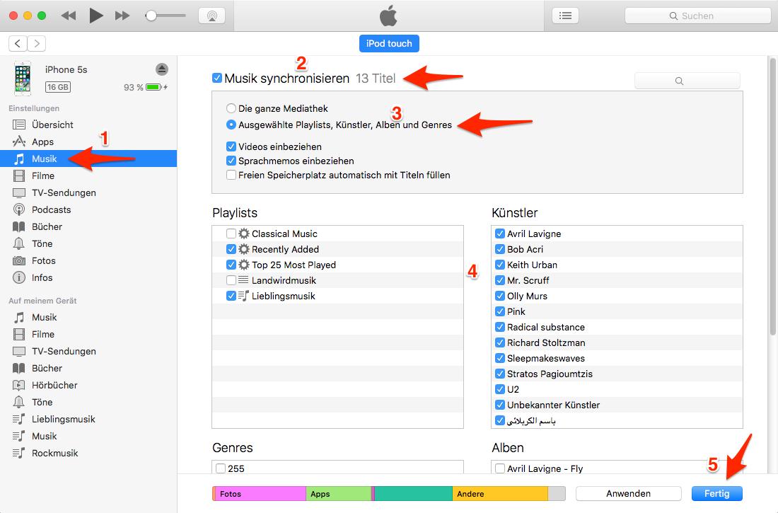 iTunes: Musik auf iPhone übertragen