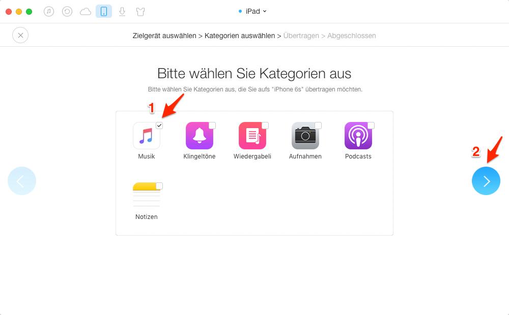 Anderes iOS-Gerät Musik auf iPhone transportieren