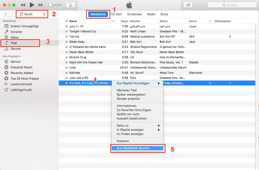 Musik aus iTunes löschen