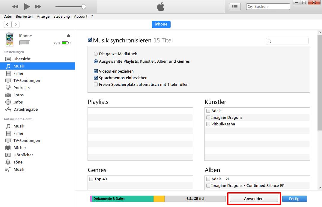 Musik vom Computer auf iPhone – Mit iTunes