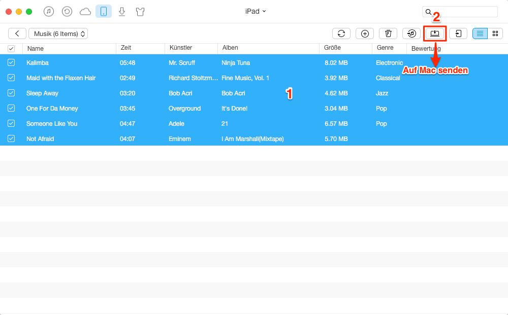 Musik vom iPad auf MacBook - Schritt 3