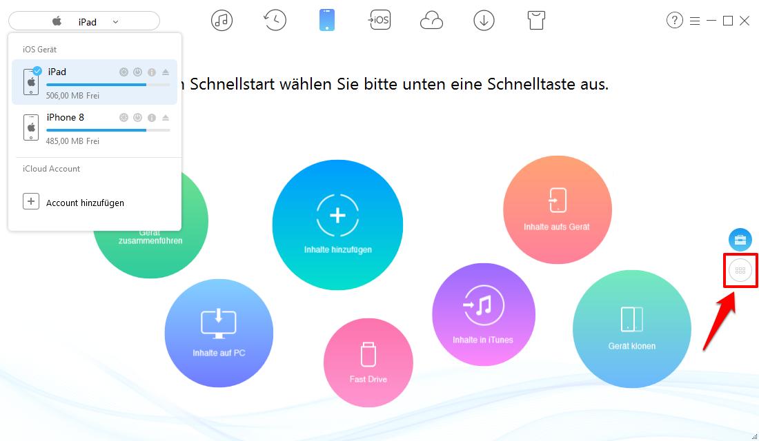 iPad Musik auf iPhone X/8/7 (Plus) übertragen – Schritt 2