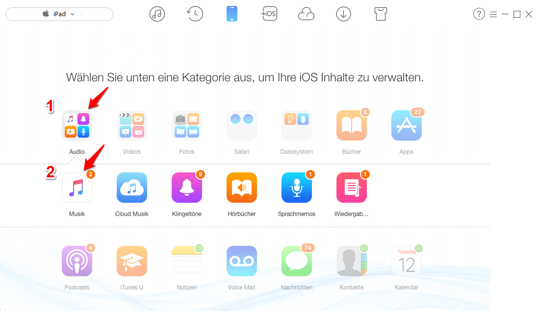 Musik vom iPad auf iPhone X/8/7 (Plus) übertragen – Schritt 3