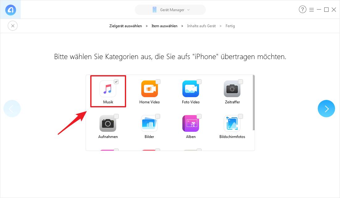 Alle Musik vom iPad auf iPhone mit 1-Klick – Schritt 2