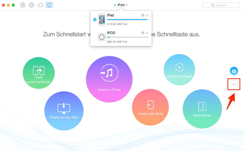 Musik vom iPad auf iPod mit AnyTrans übertragen – Schritt 2