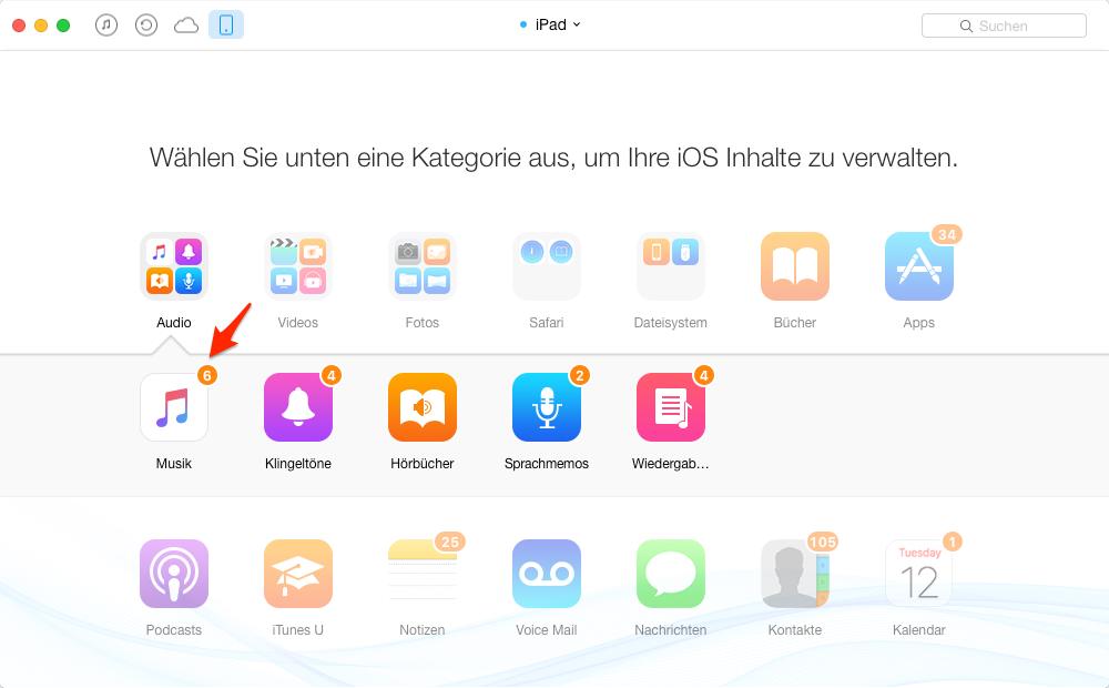 Musik vom iPad auf iPod übertragen ohne iTunes – Schritt 3