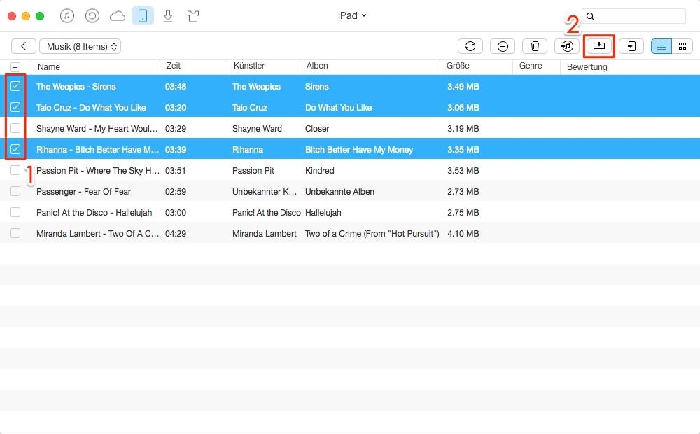 Richtig! Musik vom iPad auf Mac übertragen – Schritt 3