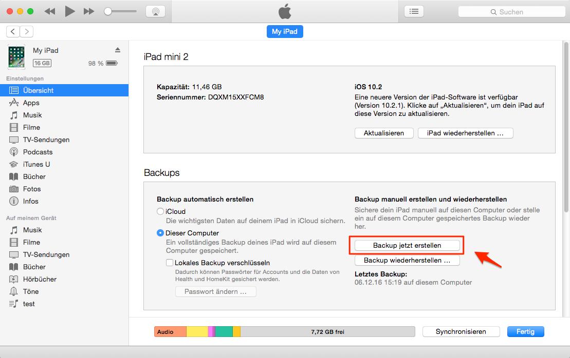 iPad mit iTunes sichern