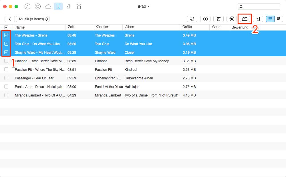 Musik vom iPad/iPod auf Mac übertragen – Schritt 2