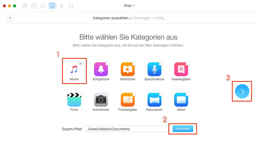 1 Klick! Musik vom iPad/iPod auf Mac senden – Schritt 2