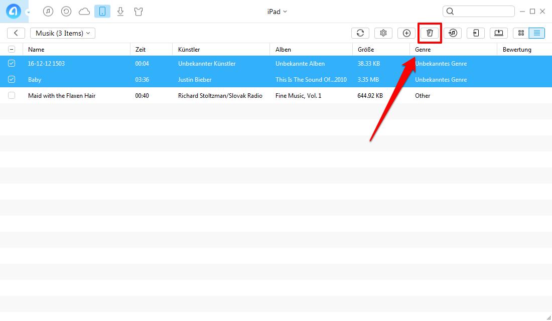 Musik vom iPad über AnyTrans löschen - Schritt 3