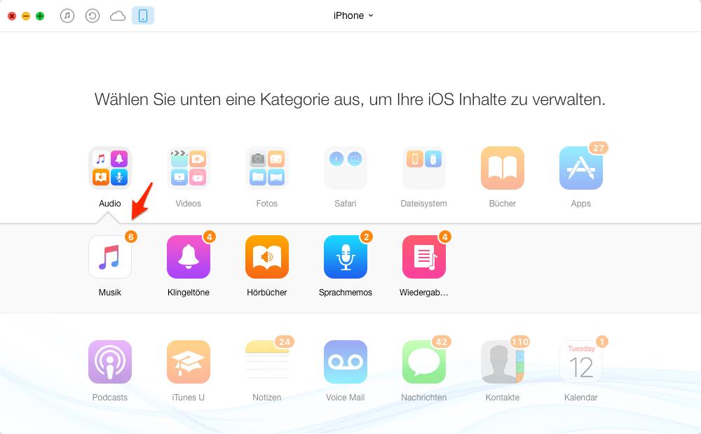 iPhone Musik in iTunes übertragen – Schritt 2