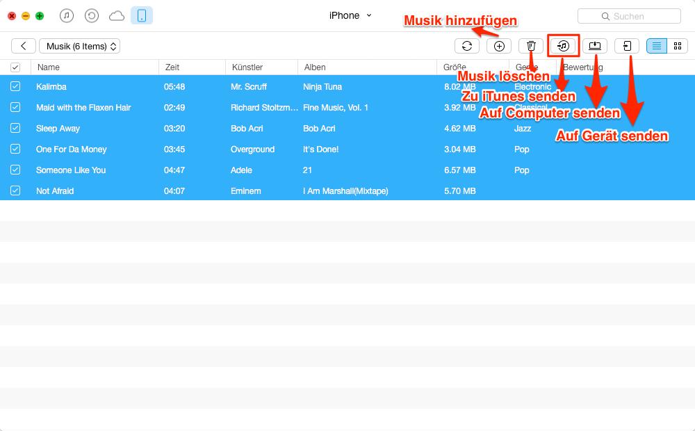 Musik vom iPhone auf iTunes – Schritt 3
