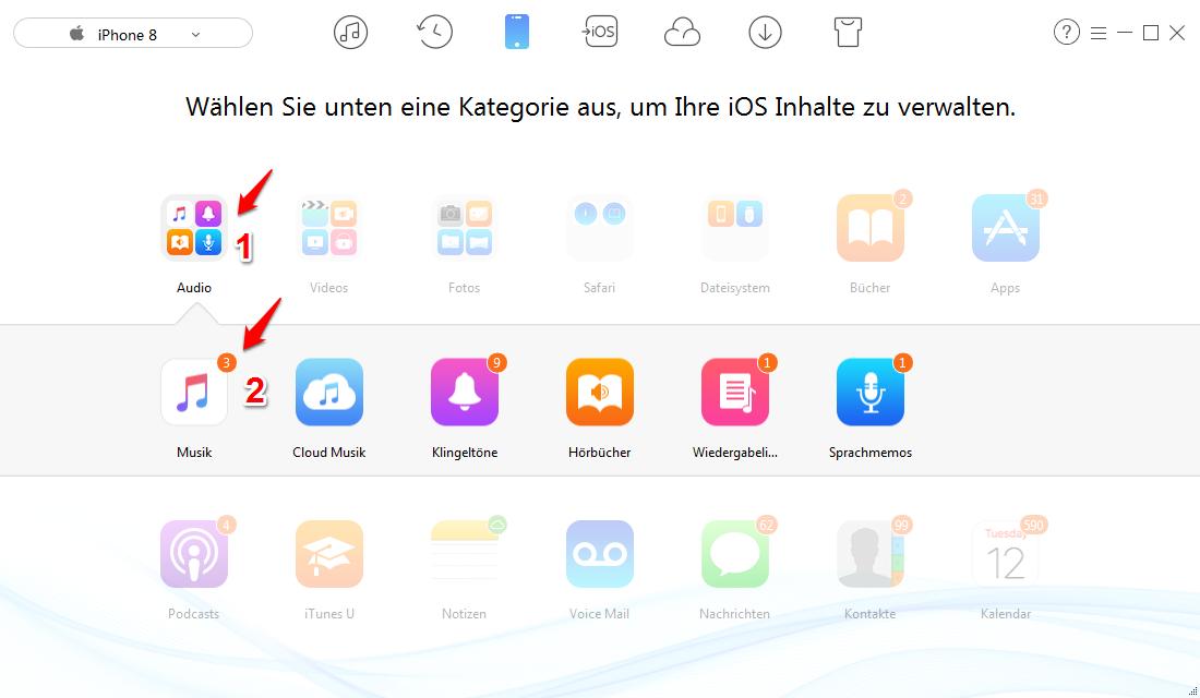 iPhone-Musik in iTunes importieren – Schritt 3