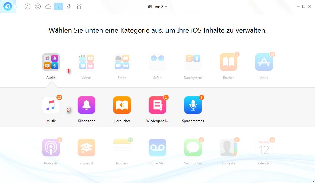 Musik vom iPhone 8 auf PC übertragen – Musik finden - Schritt 2