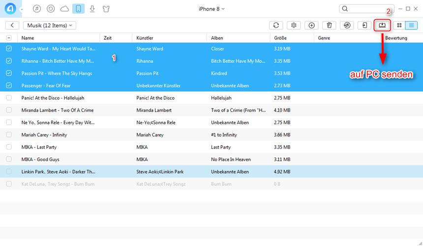 Wie kann man die Musik vom iPhone 8 auf PC kopieren - Schritt 3