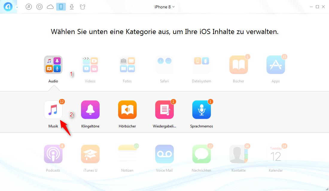 Musik auf iPhone 8 löschen – Musik finden – Schritt 2