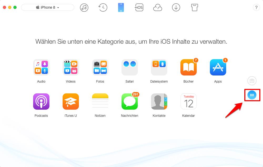 Musik vom iPhone X/8 auf Mac – wählen unten eine Kategorie aus – Schritt 1