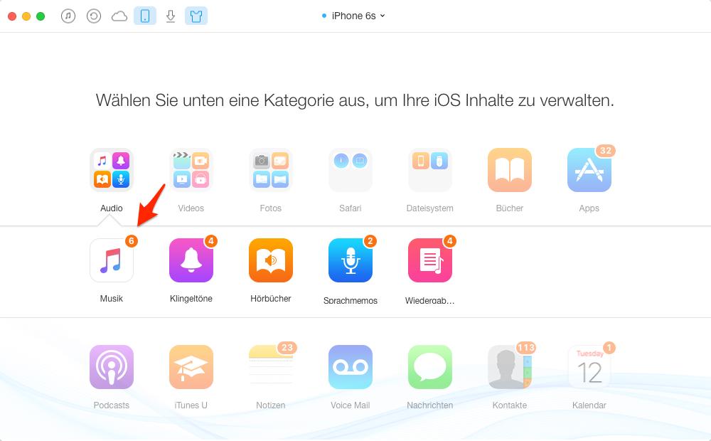 Musik vom iPhone auf iPad selektiv übertragen – Schritt 2