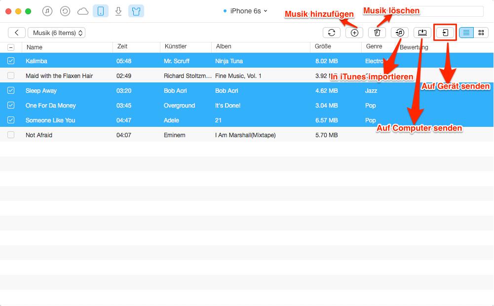 iPhone Musik auf iPad transportieren – Schritt 3