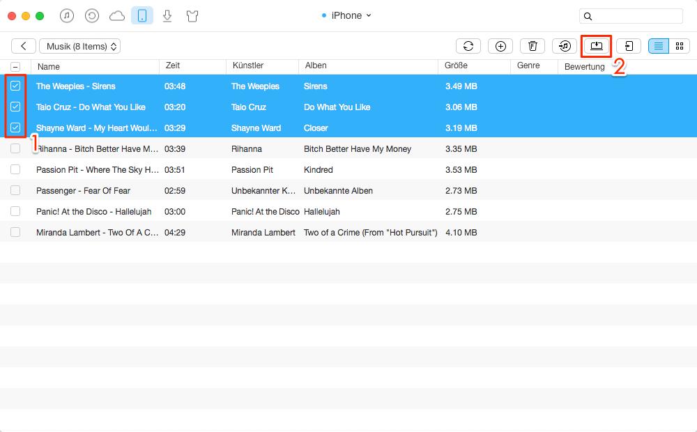 Direkt! Musik vom iPhone auf iPod übertragen – Schritt 2