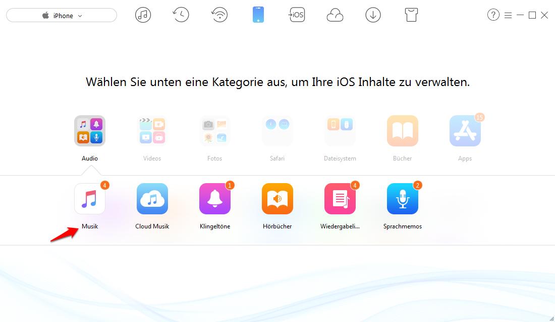 Musik vom iPhone auf PC/Mac ohne iTunes übertragen – Schritt 2
