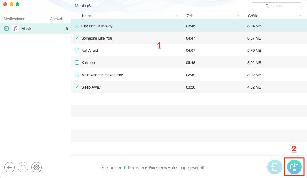 iPhone gelöschte Musik mit PhoneRescue wiederherstellen - Schritt 3